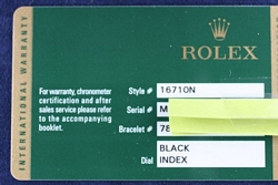 Rolex Watch Warranty Card